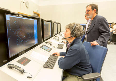 Sofia, Bulgaria - December 2, 2014: Air Traffic Controllers at the