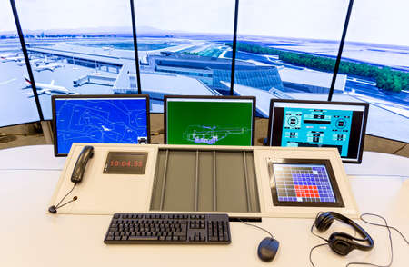 computer control: Bulgarian Air Traffic Services Authority (BULATSA) control center.