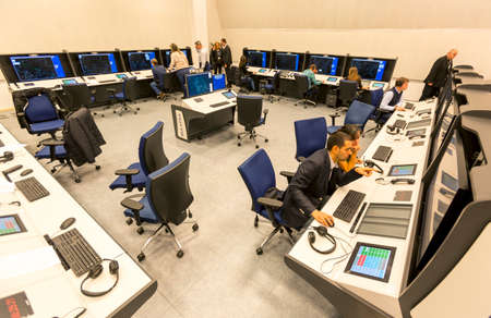 air traffic: Sofia, Bulgaria - December 2, 2014: Air Traffic Controllers at the Bulgarian Air Traffic Services Authority (BULATSA) control center are operating on their work places.