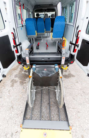 Minibus for physically disabled people.
