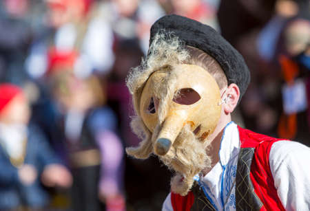 masquerade masks: Participant is participating in the International Festival of Masquerade Games Surva. The festival promotes variations of ancient Bulgarian and foreign customs and masks that are still alive today.