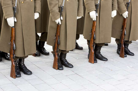 riffle: Bulgarian troopers are standing in lines during a rehearsal.