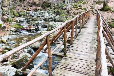 wooden bridge: Wooden bridge over a spring in the mountain.
