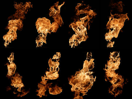 Photo collection of fire isolated on black.