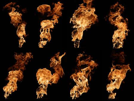 amarillo y negro: Colecci�n de fotos de fuego aislado en negro.