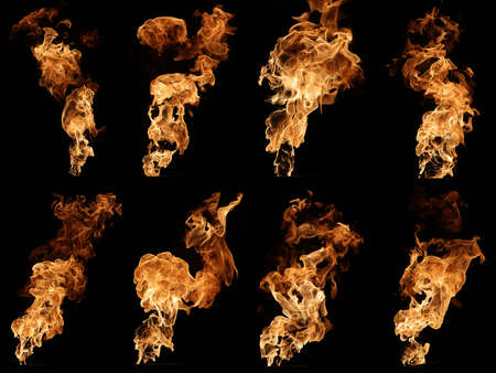 color pattern: Photo collection of fire isolated on black.