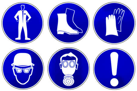 bene: Photo collection of attention blue signs on white. Stock Photo
