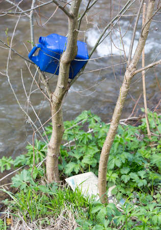 arbol de problemas: Plastic bottle trash is thrown in the branches of a tree near a river.