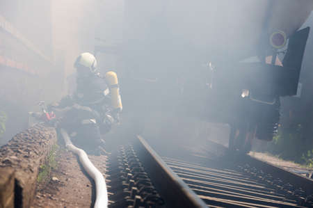 fatality: Firefighters are extinguishing chemical cargo train tanks near Sofia. Teams from Fire department are participating in an emergency training with spilled toxic and flammable materials.