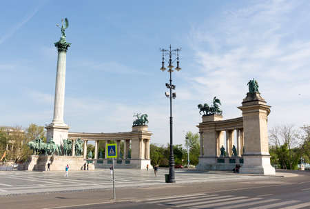 heros: Budapest, Hungary - April 30, 2015: Tourists are visiting the Hero Square in Budapest, Hungary. Editorial