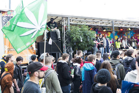 Vienna, Austria - May 2, 2015: Citizens of Vienna are participating in the Global Marijuana March (GMM) which is an annual rally held at different locations across the planet.