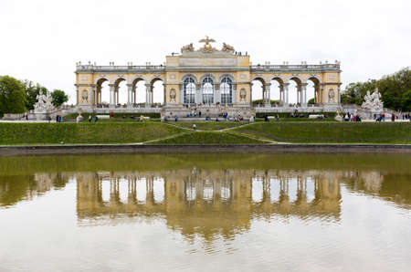 the gloriette: Vienna, Austria - May 1, 2015: Tourists are visiting the Gloriette in the former imperial summer residence known as Schonbrunn Palace.