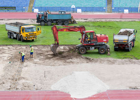 Sofia, Bulgaria - June 8, 2015: Workers are repairing Bulgaria's national stadium