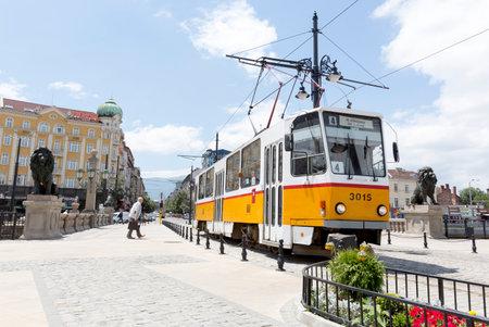 tramcar: Sofia, Bulgaria - June 25, 2015: Tramcar is travalling through the Lions Bridge in Bulgarias capital Sofia. Editorial