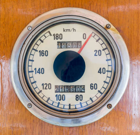 kmh: Kmh speedometer in an old-fashioned luxurt train car.