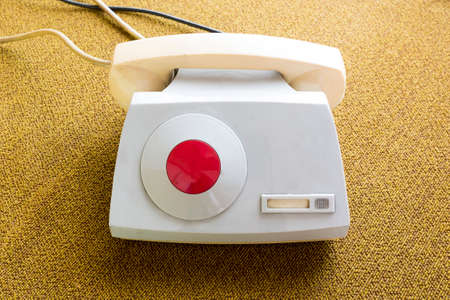 hotline: A non-dial Red Phone. This hotline is a system that allows direct communication between the leader of Bulgarian Communist Party Todor Zhivkov and the president of the Soviet Union (USSR). Stock Photo