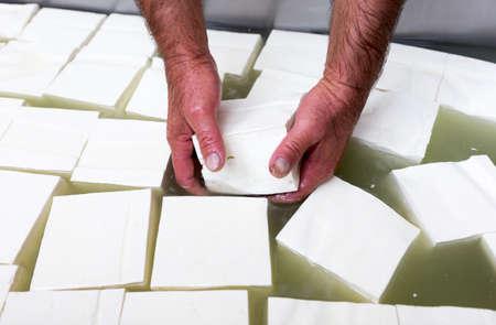 queso fresco blanco: Feta es un queso blanco en salmuera cuajada hecha en Grecia con leche de oveja o de una mezcla de leche de oveja y de cabra. Quesos blancos en salmuera similares producidos fuera de la Unión Europea se hacen a menudo en parte o en su totalidad de la leche de vaca.