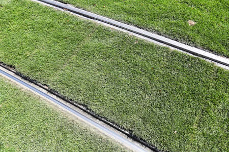 environment friendly: Environment friendly street car tram rails on grass.