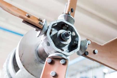 technical university: Wind turbine generator in a student laboratory in an European technical university. Facility designed for educational research, tests and exams. Stock Photo