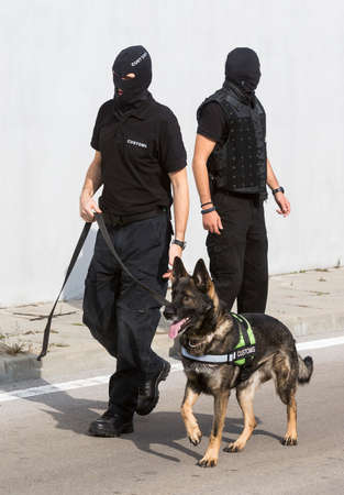 airport customs: Customs officers and their dog are participating in a training for drugs detection in Sofias airport. The dogs are trained to find drugs smuggled in the luggage.