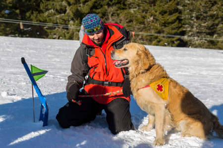 cruz roja: Sof�a, Bulgaria - 28 de enero 2016: rescatador del Servicio de Rescate de la monta�a en la Cruz Roja b�lgara y su perro est�n participando en un entrenamiento para salvar a la gente en una avalancha.