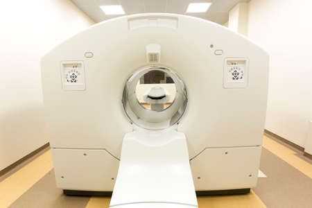 animals x ray: Tomography cancer treatment scanner in a clinic room.