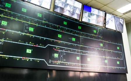 computer screens: Control room for the subways of Sofia, Bulgaria. Traffic maps and video monitoring surveillance system.
