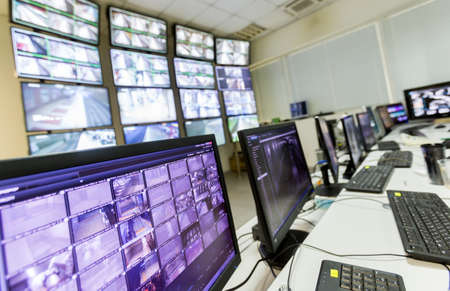 control center: The control room of the subway traffic. Computer monitors. Editorial