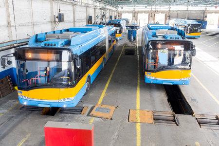 tramline: Trolley cars in a depot in Sofia, Bulgaria.