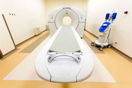 tomography: A CT scan, also called X-ray computed tomography (X-ray CT) or computerized axial tomography scan (CAT scan) in a new modern cancer treatment hospital.