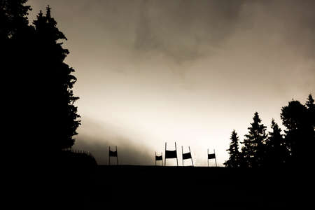 ski track: Silhouette of an official ski track for ski races in a mountain of Bulgaria. Stock Photo