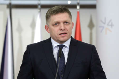 fico: Prague, Czech Republic - February 15, 2016: The Prime Ministers of Slovakia Robert Fico is speaking during a press conference after meeting of The Visegrad Group (V4) in Prague, Czech Republic.