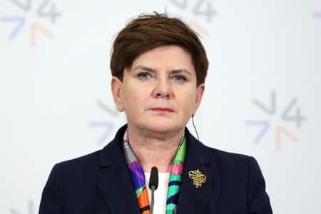 the prime minister: Prague, Czech Republic - February 15, 2016: The Prime Minister of Poland Beata Szydlo is speaking during a press conference after meeting of The Visegrad Group (V4) in Prague, Czech Republic.