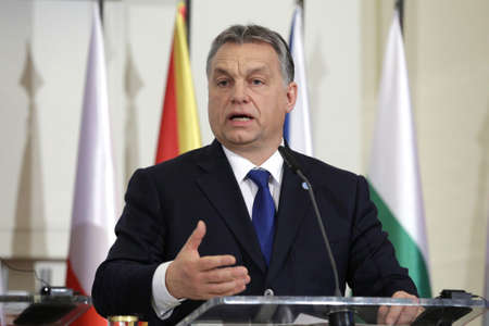 visegrad: Prague, Czech Republic - February 15, 2016: The Prime Ministers of Hungary Viktor Orban is speaking during a press conference after meeting of The Visegrad Group (V4) in Prague, Czech Republic. Editorial