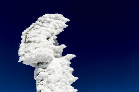 high up: A frozen sign is seen high up in the mountain against the clean blue sky due to the heavy snowing and strong winds.
