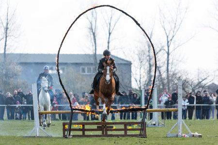 mujer policia: Sofía, Bulgaria - 19 de marzo 2016: Una mujer policía de la unidad de policía a caballo en el salto con su caballo por encima de una barrera de fuego mientras participaba en un desfile en el día de San Teodoro.