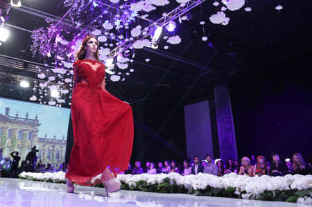 snows: Sofia, Bulgaria - March 23, 2016: A model walks the runway at Sofia Fashion Week runway show. The fashion show is held for a second time in Bulgarias capital.