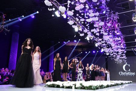 supermodel: Sofia, Bulgaria - March 23, 2016: Female models walk the runway during the 2016 Sofia Fashion Week Show in Sofia, Bulgaria. Editorial