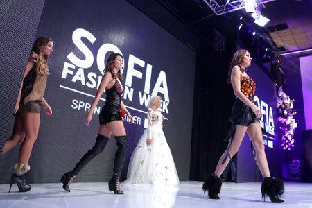 runway fashion: Sofia, Bulgaria - March 23, 2016: Female models walk the runway during the 2016 Sofia Fashion Week Show in Sofia, Bulgaria. Editorial