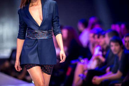 fashion catwalk: A female model walks the runway during the 2016 Fashion Week Show , Bulgaria. Stock Photo