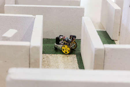 selfmade: Open competition of self-made robots among school students. Robot in a labyrinth.