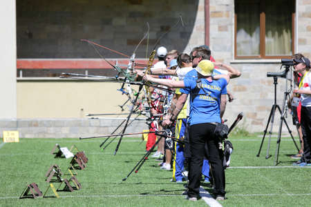 recurve: Sofia, Bulgaria - April 16, 2016: People are shooting with recurve bows during an archery competition.