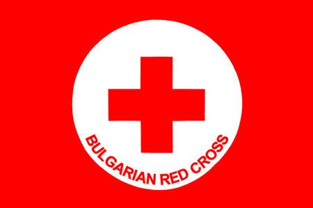 red cross: Sof�a, Bulgaria - 20 de abril 2016: icono de la Cruz Roja B�lgara con t�tulos en Ingl�s. Editorial
