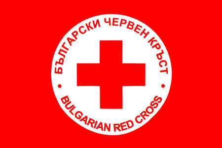 Sofia, Bulgaria - April 20, 2016: Bulgarian Red Cross icon with titles in English and in Bulgarian.