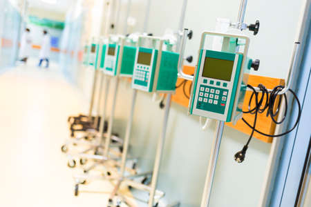 intravenously: An infusion pump infuses fluids, medication or nutrients into a patients circulatory system. It is generally used intravenously, although subcutaneous, arterial and epidural infusions are occasionally used.