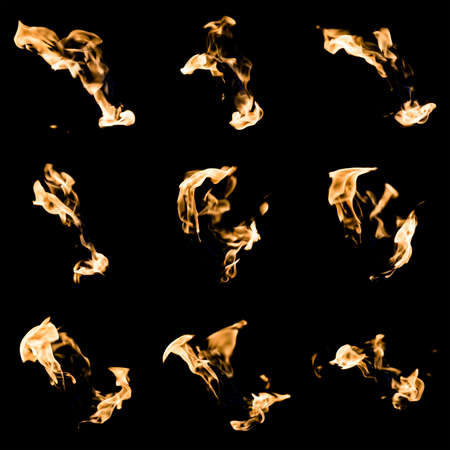 emerging: A collage of nine different emerging fire flames on a black background. Compilation image of colorful flames on black.