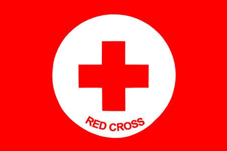cruz roja: Sof�a, Bulgaria - 20 de abril 2016: icono de la Cruz Roja con t�tulos en Ingl�s.