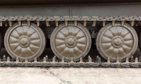 tread: Bulgarian army battle tank. Tank Tread with Wheels.