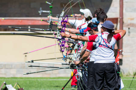 recurve: Sofia, Bulgaria - April 16, 2016: People are shooting with bows during un open archery competition. Editorial