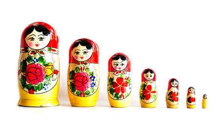 Traditional Russian matryoshka dolls isolated on a white background. 免版税图像